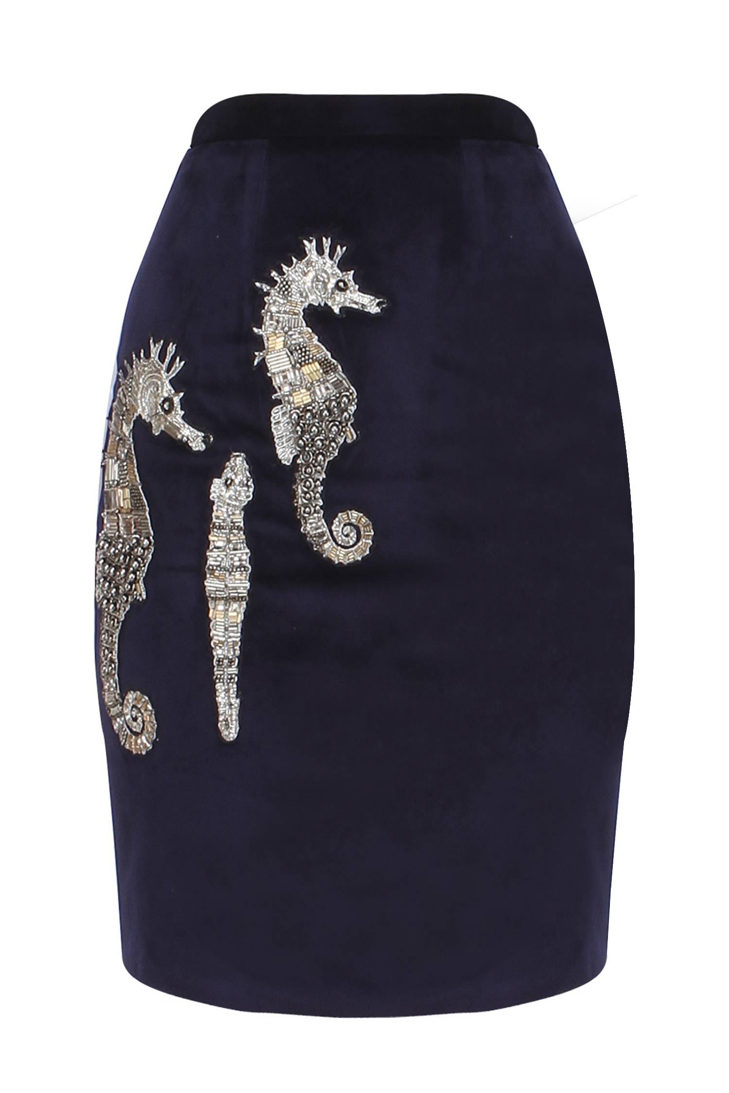 navy blue micro velvet pencil skirt skirts kukoon