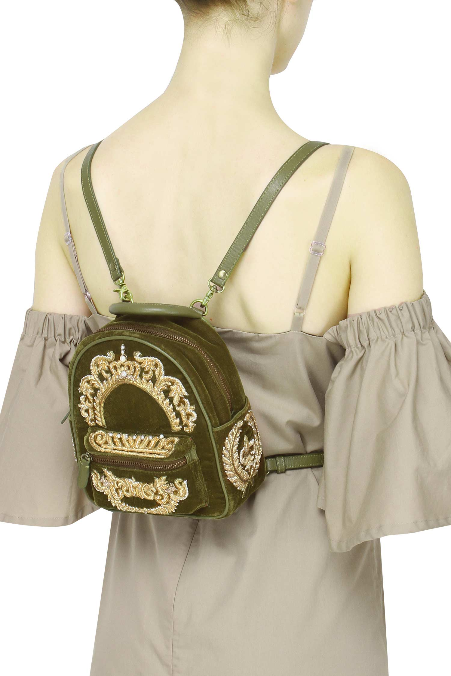 Olive Green And Gold Backpack Backpacks Lovetobag Ayushi