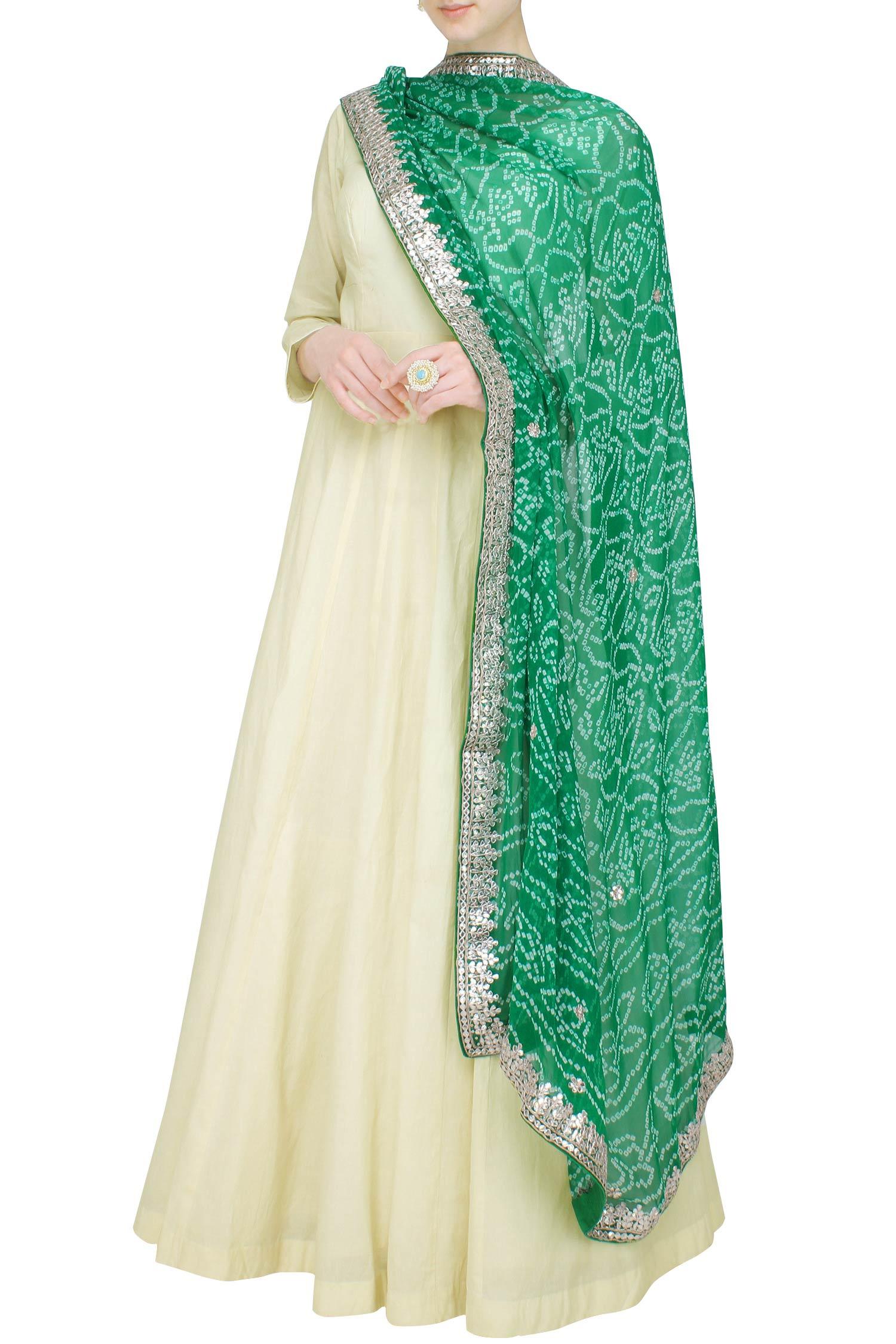Ivory Cotton Anarkali Set With Bandhani Dupatta Anarkali