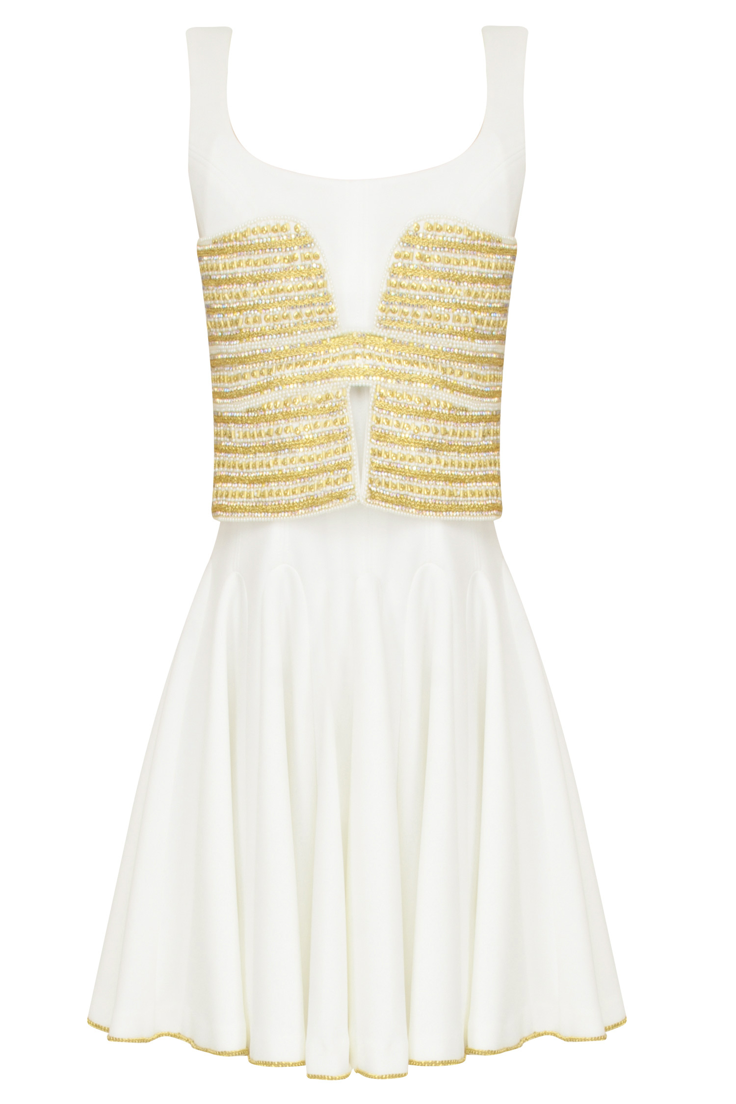 room couture presents boxpleat dress with embellished
